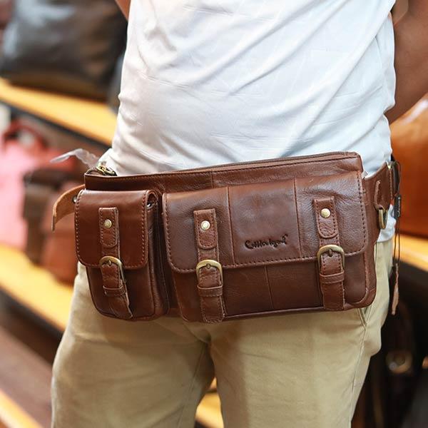 Túi da bò đeo bụng Lano TDB13