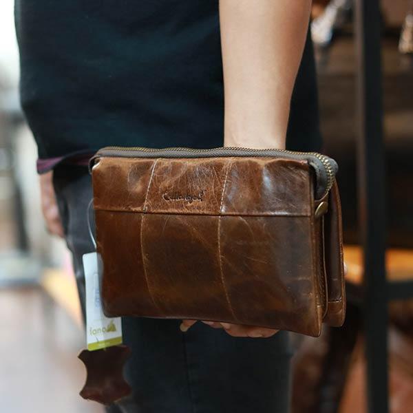 Túi cầm tay da bò Lano gọn nhẹ CLT22