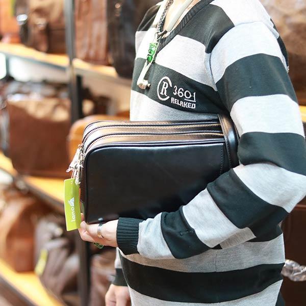 Túi cầm tay dạng hộp da bò xách tay cao cấp CLT20