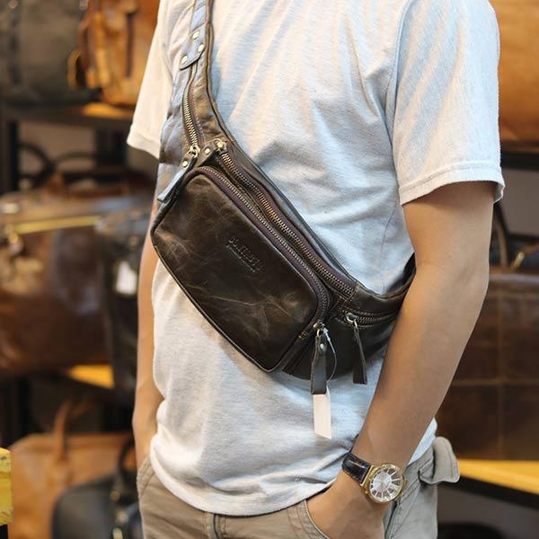 Túi da đeo bụng chính hãng Contact TDB011