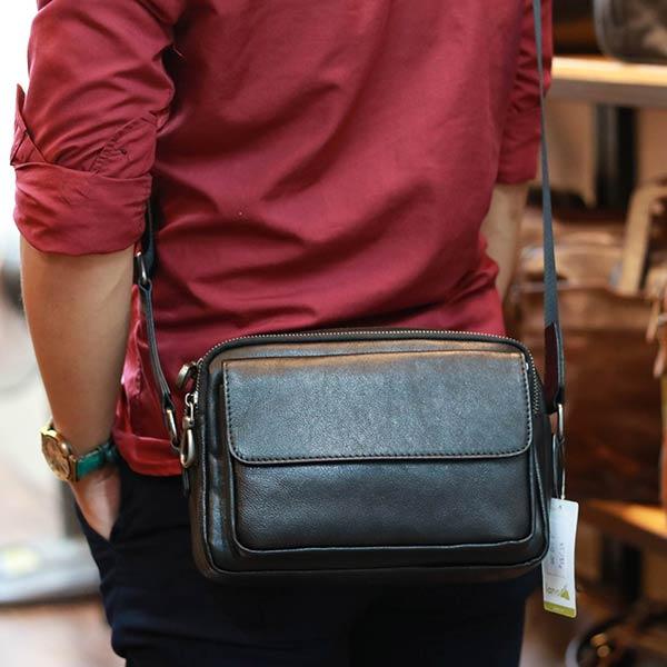 Túi da đeo chéo nam Lano KT187