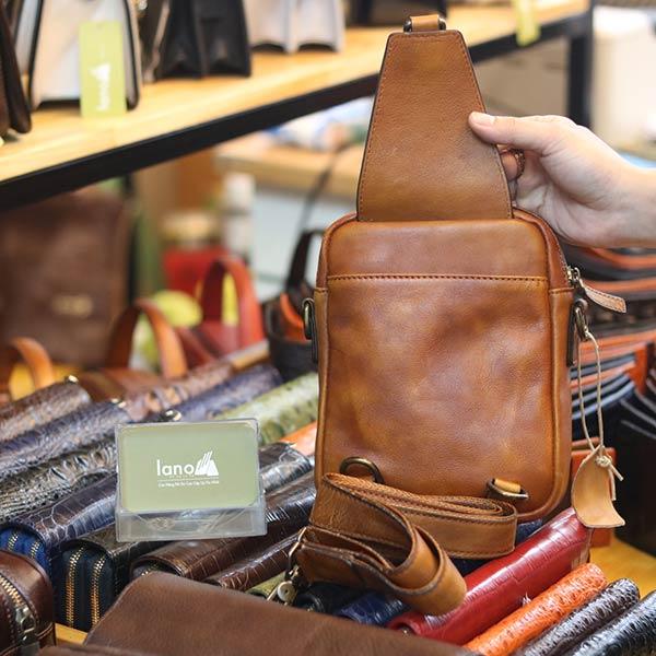 Túi da nam đeo chéo kết hợp sling TDL76
