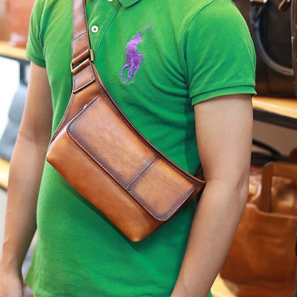 Túi đeo bao tử Lano da bò tiện lợi tdb021