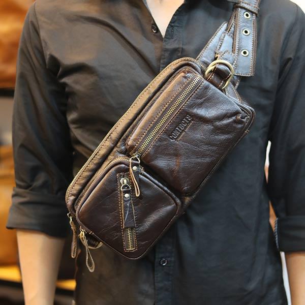 Túi đeo bụng Lano da bò thật Contact TDB010