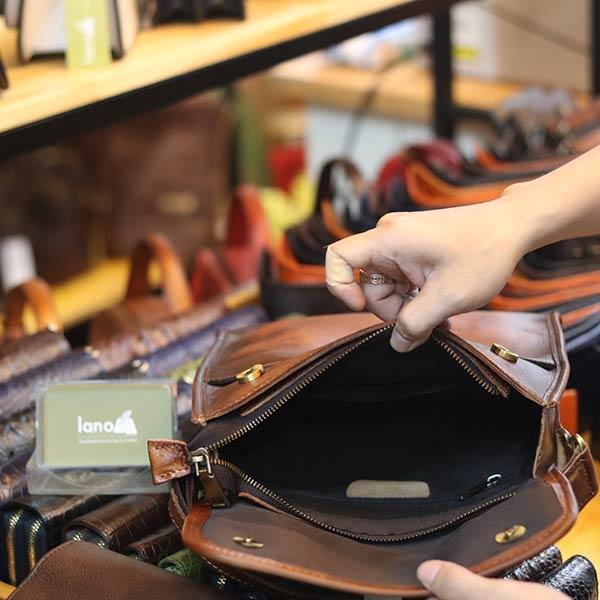Túi đeo chéo da bò dạng hộp khỏe khoắn KT183